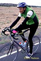 Peter riding his bicycle during RAAM 96